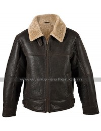 Mens B3 Aviator Pilot RAF Fur Shearling Bomber Flight Brown Leather Jacket