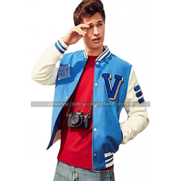 Ansel Elgort Baby Driver Varsity Letterman Blue Bomber Jacket
