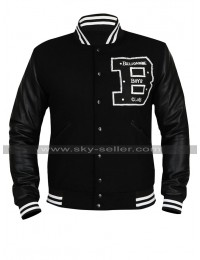Mens BBC Billionaire Boys Club Bomber Varsity Wool Black Leather Letterman Jacket
