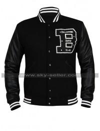 Mens BBC Billionaire Boys Club Bomber Varsity Wool Black Leather Letterman Jacket