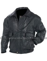 Mens Black Bomber Biker Flight Coat Motorcycle Leather Jacket