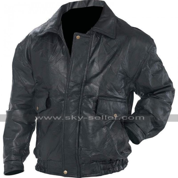 Mens Black Bomber Biker Flight Coat Motorcycle Leather Jacket