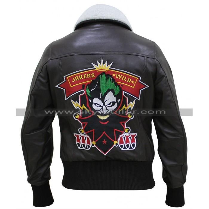 Bombshell Harley Quinn Bomber Fur Leather Jacket