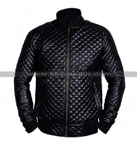 Mens Cafe Racer Quilted Biker Black Bomber Motorcycle Leather Jacket