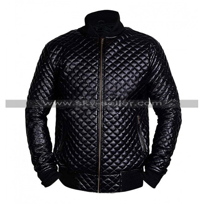 Mens Cafe Racer Quilted Biker Black Bomber Motorcycle Leather Jacket