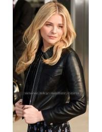 Chloe Grace Moretz Black Leather Bomber Jacket