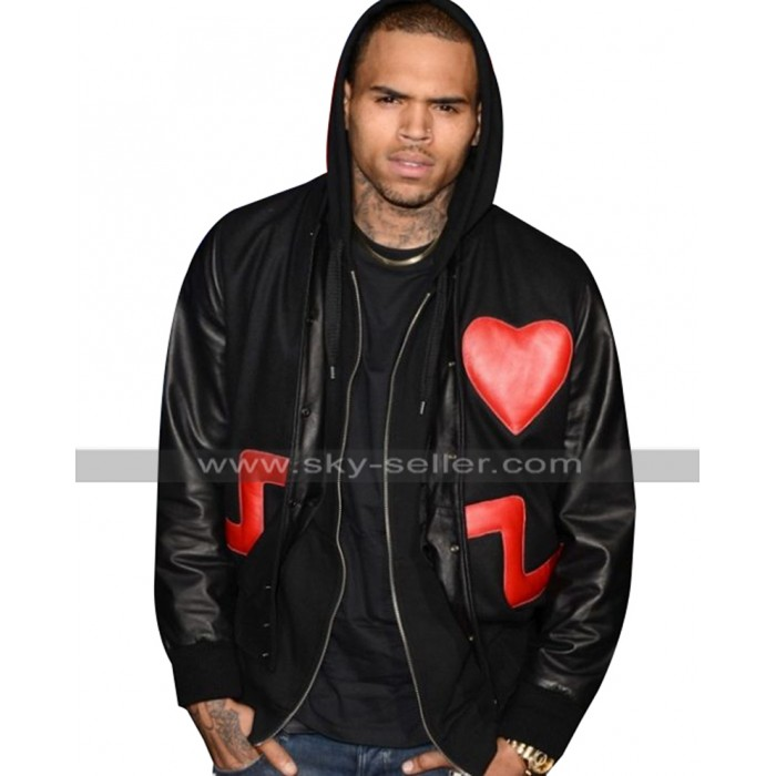 Chris Brown Love Not Hate Valentines Day Red Heart Black Leather Jacket