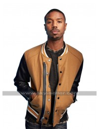 Michael B Jordan Comic Con 2017 Costume Brown Bomber Leather Jacket
