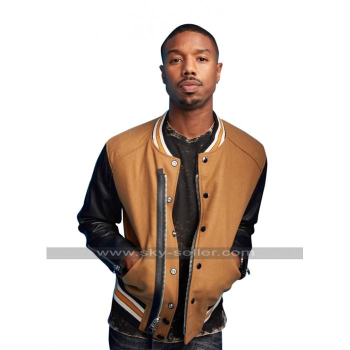 Michael B Jordan Comic Con 2017 Costume Brown Bomber Leather Jacket