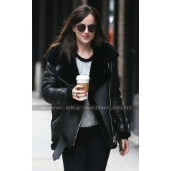 Dakota Johnson Fur Black Leather Bomber Jacket