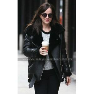 Dakota Johnson Fur Black Leather Bomber Jacket