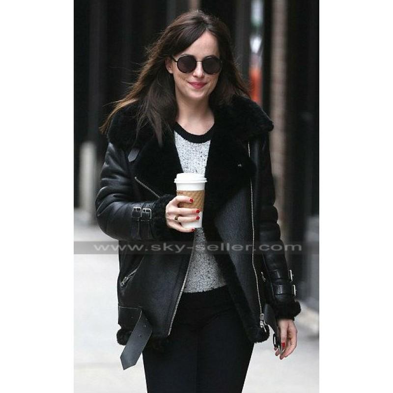 aa552e79f30e Dakota Johnson Fur Black Leather Bomber Jacket