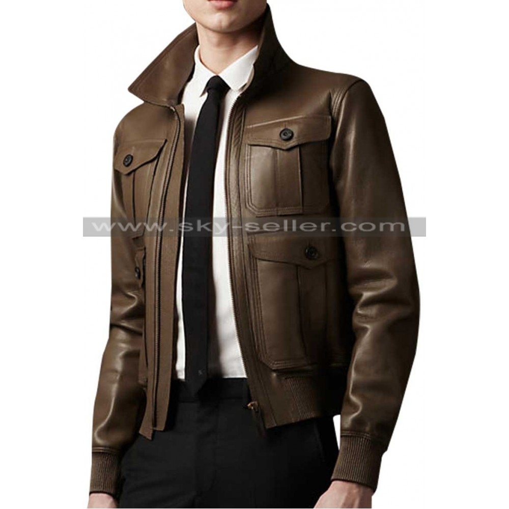 Dark Brown Slimfit Front Flap Pockets Bomber Jacket