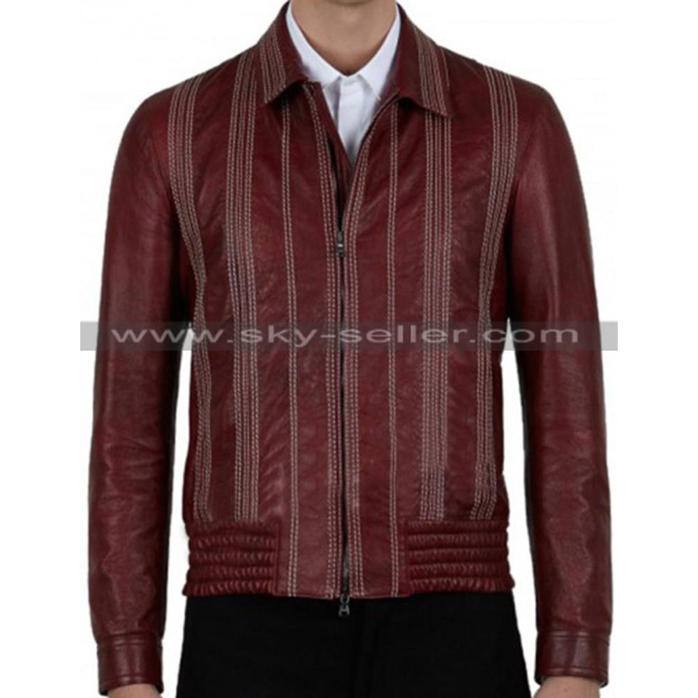 Men's Decorative Stitching Maroon Bomber Leather Jacket