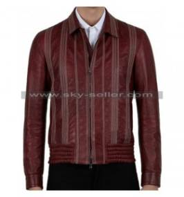 Men's Decorative Stitching Maroon Bomber Leather Jacket