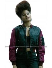 Deadpool 2 Domino (Zazie Beetz) Short Body Satin Bomber Jacket