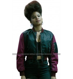 Deadpool 2 Domino (Zazie Beetz) Short Body Satin Bomber Jacket