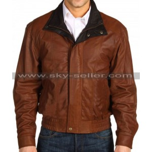 Double Collar Men's Brown Bomber Leather Jacket