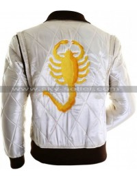 Ryan Gosling Drive Scorpion White Satin Jacket