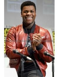 John Boyega Star Wars 2015 Red Bomber Leather Jacket