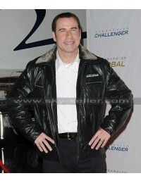 John Travolta Pilot Fur Collar Flight Bomber Jacket
