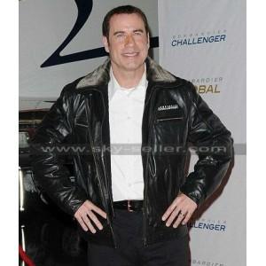 John Travolta Pilot Fur Collar Flight Bomber Jacket