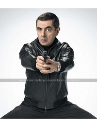 Johnny English Strikes Again Rowan Atkinson Bomber Black Leather Jacket