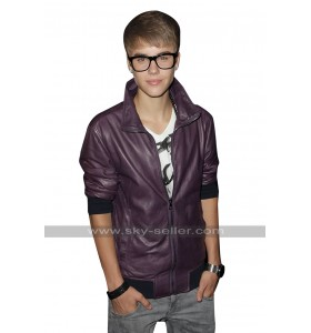 Justin Bieber Music Event Purple Bomber Leather Jacket