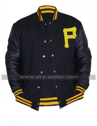 Pittsburgh Pirates Baseball Varsity Majestic P Logo Black Letterman Bomber Jacket
