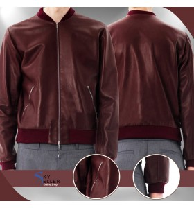 Slim Fit Bomber Men's Maroon Leather Jacket