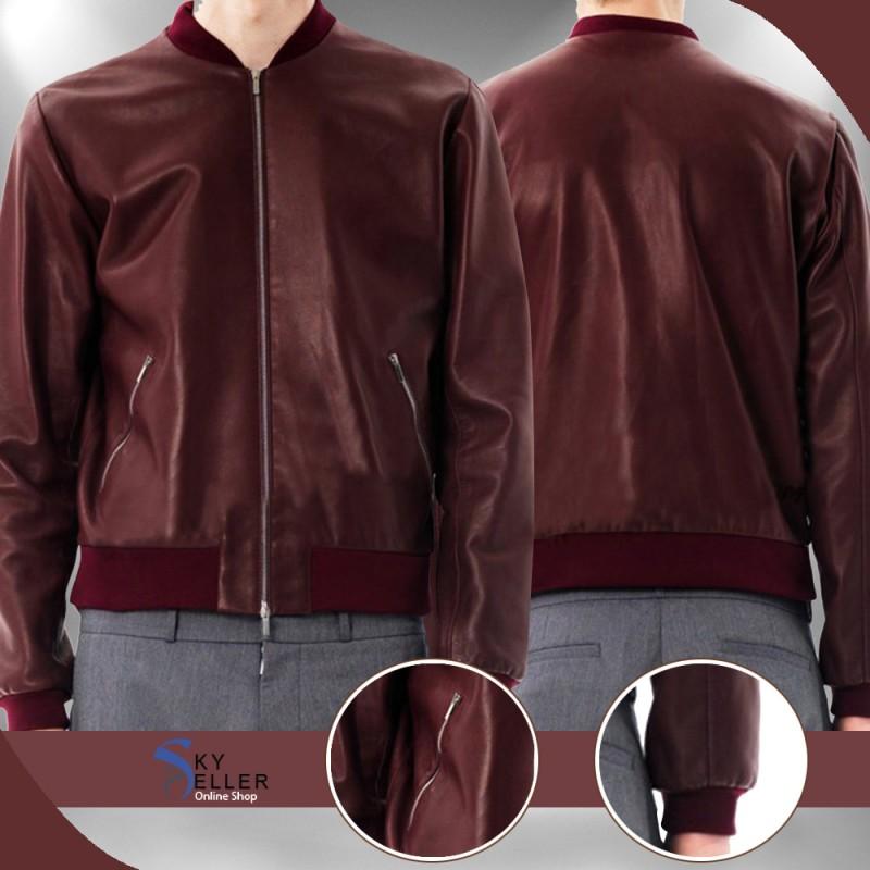 b52eceb82 Slim Fit Bomber Men's Maroon Leather Jacket
