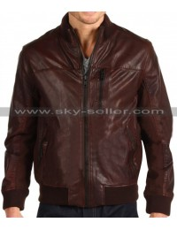 Front Zipper Pocket Brown Slim Fit Bomber Leather Jacket