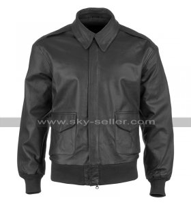 Mens A2 Aviator Jacket USAAF Cockpit Pilot Flight Bomber Black Leather Jacket