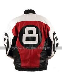 Mens 8 Ball Subway Bomber Retro Biker Letterman Leather Jacket