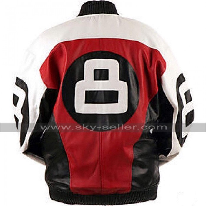 Mens 8 Ball Subway Bomber Retro Biker Letterman Leather Jacket