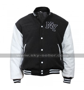 Mens New York NY Varsity Baseball Fashion Bomber Wool Leather Jacket