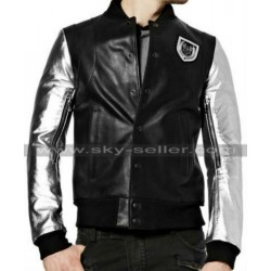 Mens Silver Sleeve Teddy Bomber Leather Jacket