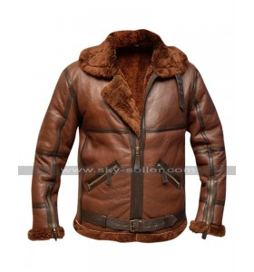 RAF B3 British Aviator Pilot Flying Fur Shearling Bomber Brown Leather Jacket