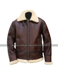 B3 RAF Aviator Pilot Flight WWII Fur Shearling Bomber Brown Leather Jacket