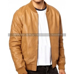 Ribbed Collar Brown Slimfit Bomber Leather Jacket