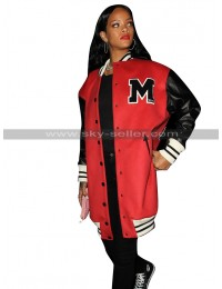 Rihanna 1 OAK Club Los Angeles Bomber Red Varsity Coat Letterman Jacket