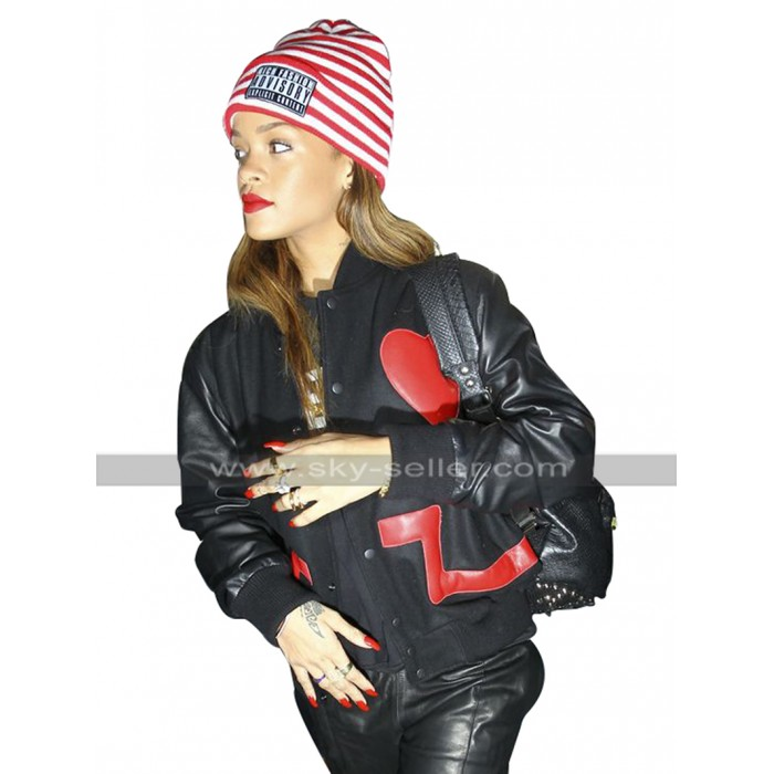 RF Rihanna Valentines Day Red Heart Varsity Black Leather Jacket