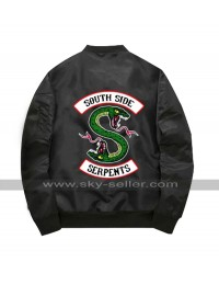 Riverdale Southside Serpents Flight Black Satin MA-1 Bomber Jacket
