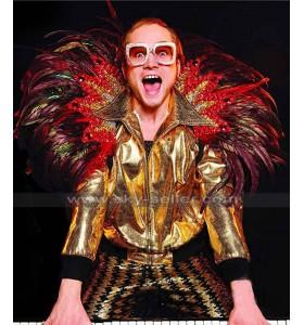 Taron Egerton Rocketman Elton John Bomber Golden Jacket
