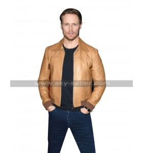 Sam Heughan Bloodshot Bomber Tan Brown Bomber Leather Jacket