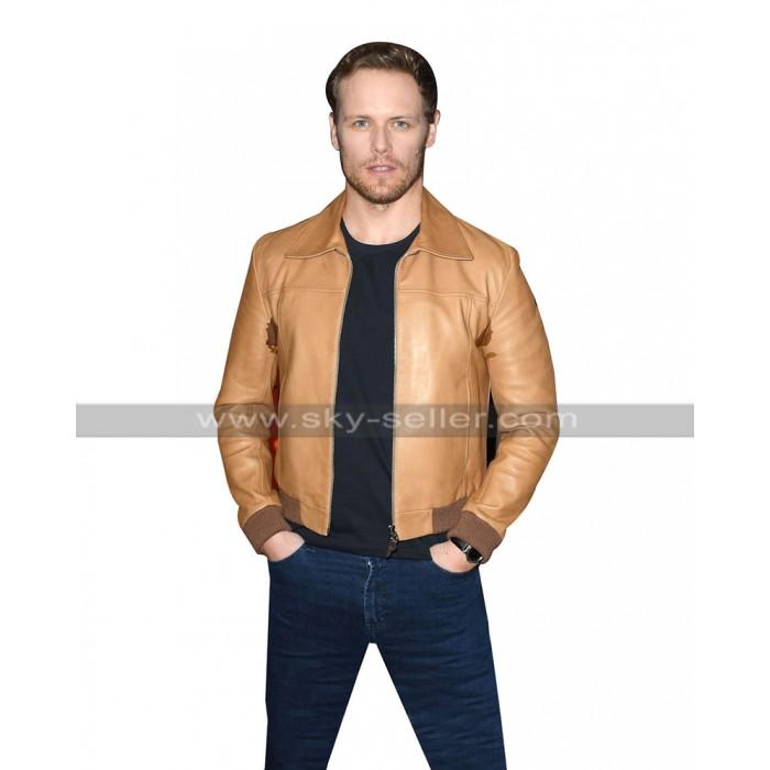 Sam Heughan Bloodshot Bomber Tan Brown Bomber Leather Jacket