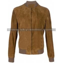 Side Zipped Pockets Slanted Suede Brown Bomber Jacket