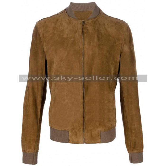 Side Zipped Pockets Slanted Suede Brown Bomber Jacket