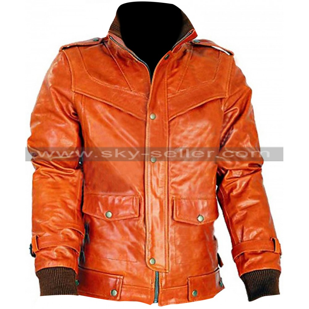 Bright Copper Slim Fit Classic Bomber Leather Jacket
