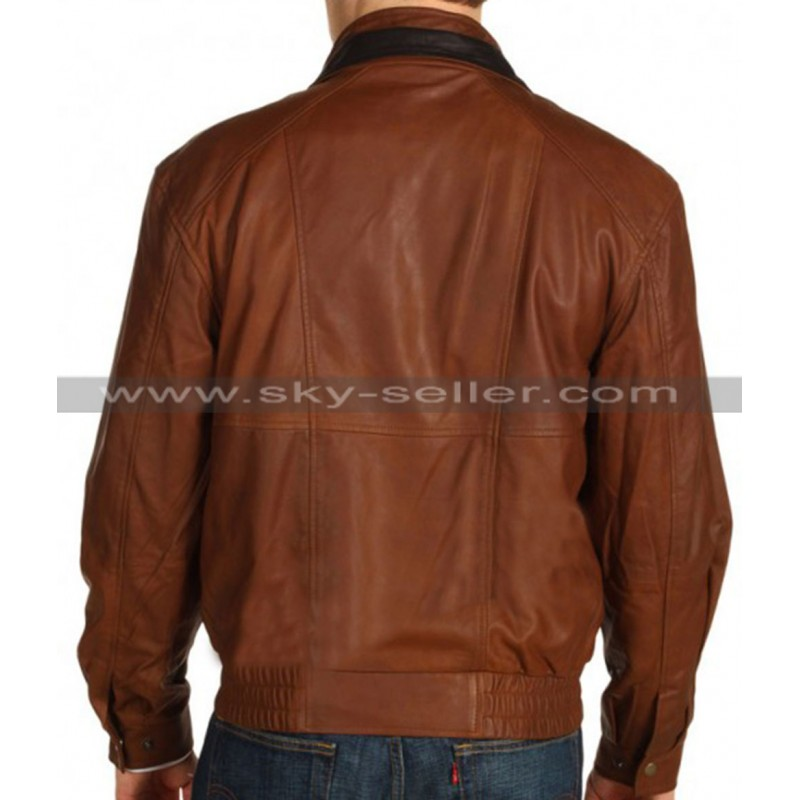 Collar Men's Brown Bomber Leather Jacket